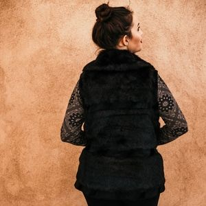 Midnight Black - Faux Fur Vest